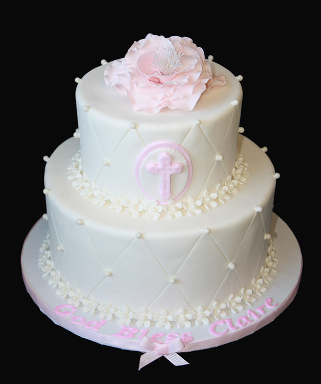 Christening Cake with Pink Flower