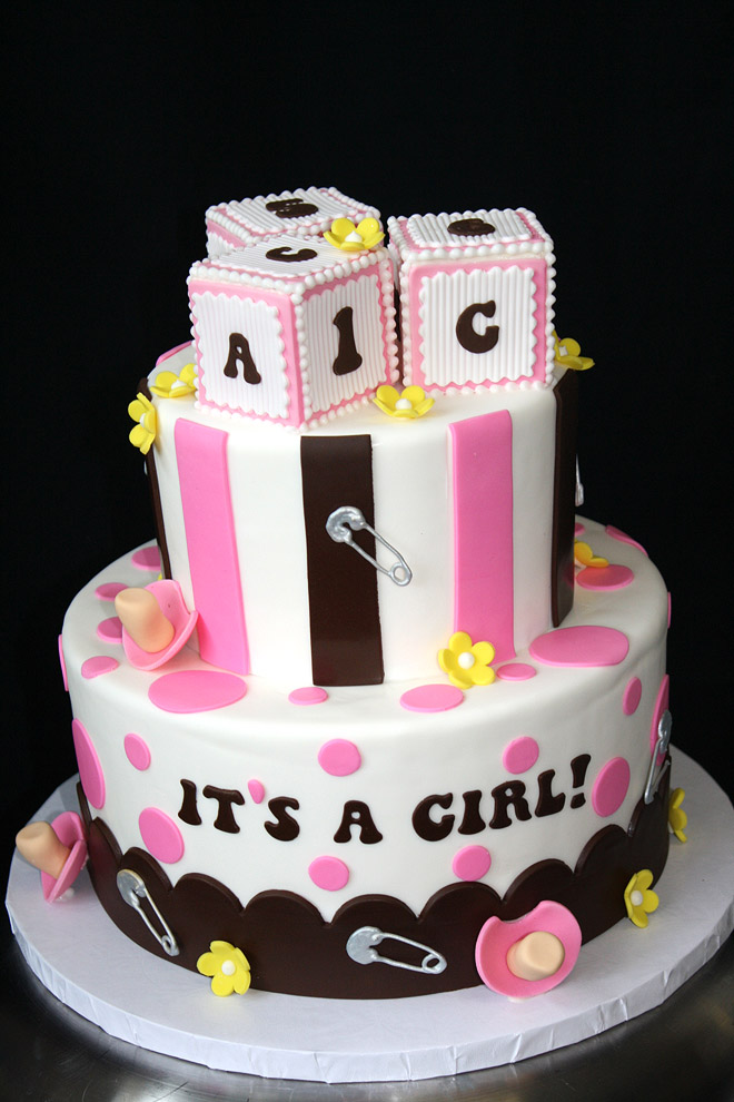 Its a Girl! Cake with Blocks