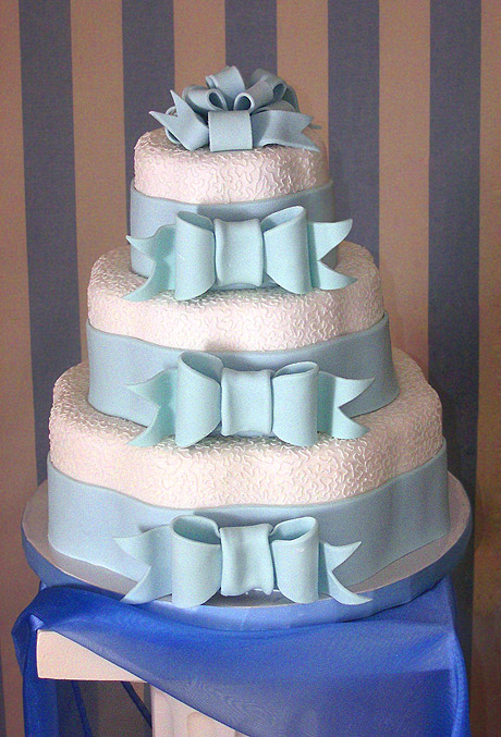 Wedding Cake With Blue Bows