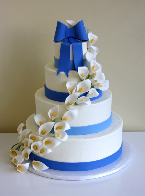 Wedding Cake with Calla Lily Cascade by CakeSuite, serving ...