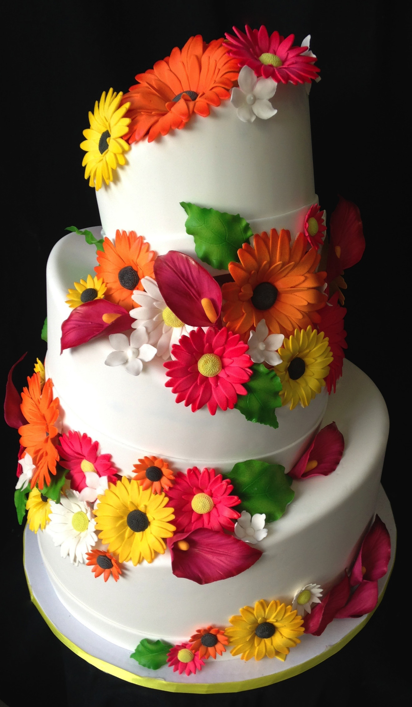 Wedding Cake with Colorful Handmade Daisies