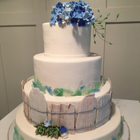 Country Cake with Blue Hydrangea Sugar Flowers