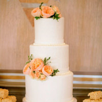 White Wedding Cake with Peonies