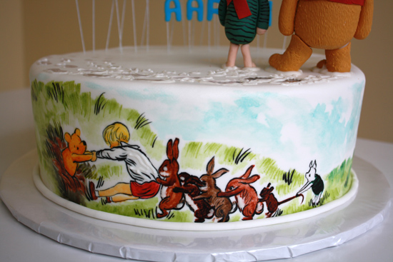 Pooh and Friends Cake – Hand Painted Detail