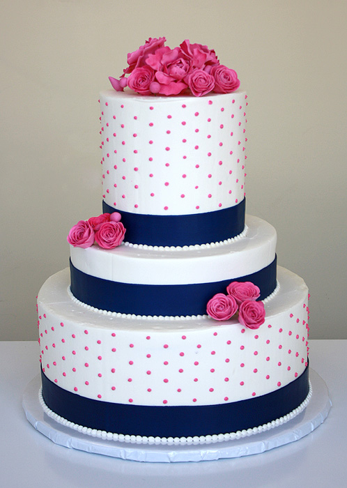 Wedding Cake with Pink Blossoms