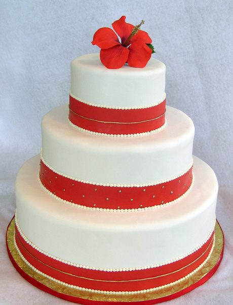 Wedding Cake With Red Hibiscus By Cakesuite Serving Connecticut And