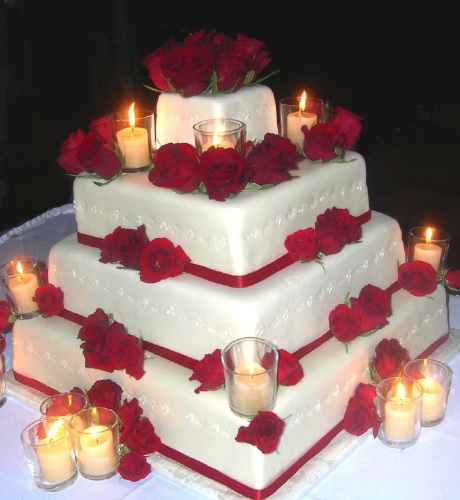 Wedding Cake with Fresh Red Roses