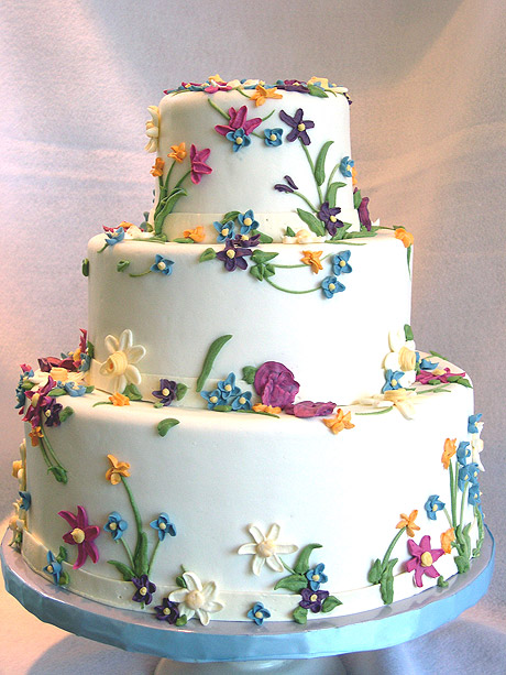 Wedding Cake with Pretty Spring Flowers