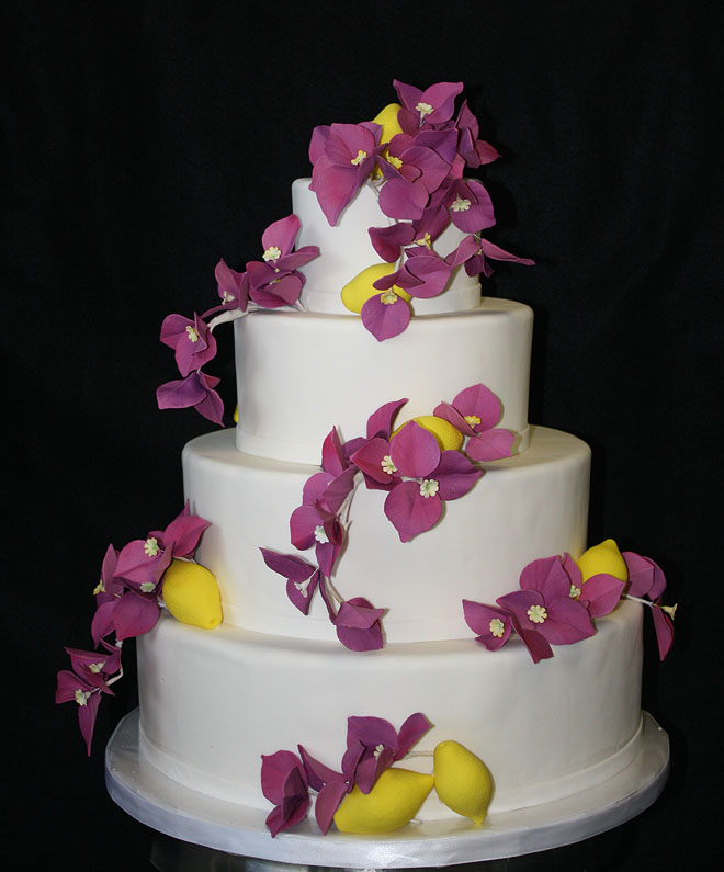 Wedding Cake with Bougainvilleas and Lemons