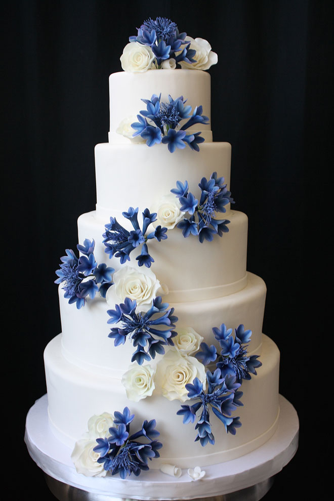 Wedding Cake with Sugar Cornflowers