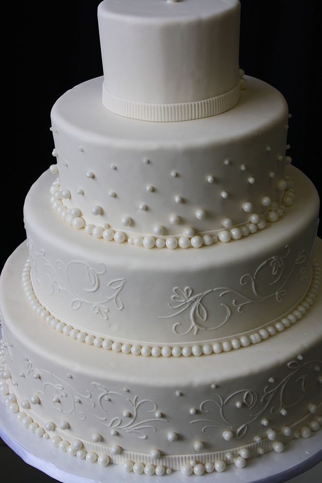 Wedding Cake with Pearls and Swirls